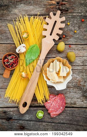 The Ingredients For Homemade Pasta Basil, Parmesan Cheese ,garlic, Olive Oil , ,peppercorn ,mushroom