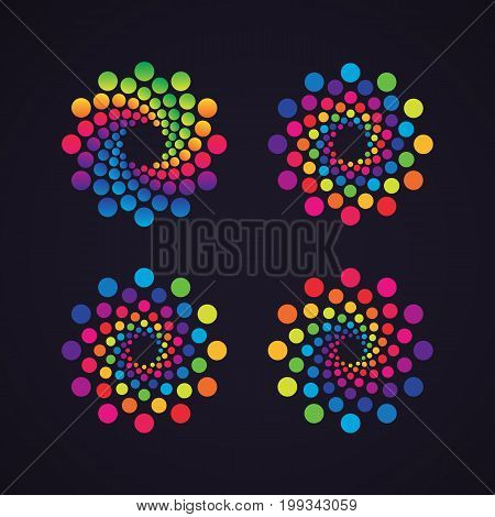 Halftone dotted vector frame, dot pattern in circle shape. Abstract rainbow border isolated on black background. Trendy design element for round festive banner or logo.