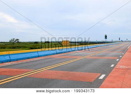 PHATTHALUNG,Thailand : August 12, 2017 : Chaloem Phra Kiat 80 Phansa bridge, one of the most popular places.