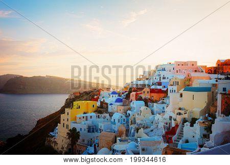 townscape of Oia, volcano caldera and Aegan sea, beautiful details of Santorini island, Greece, retro toned
