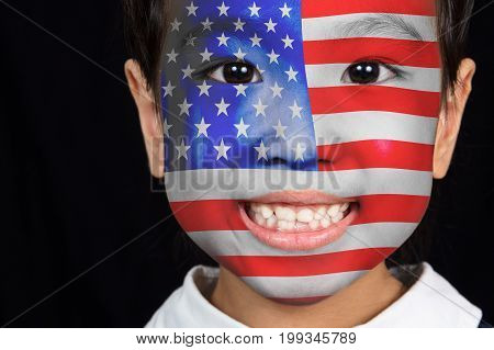 Asian Chinese Little Girl With American Flag On Face