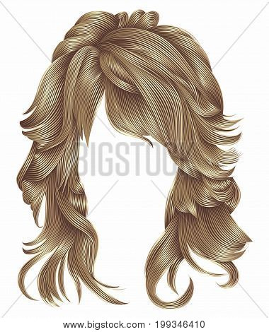 trendy woman long hairs brown   blonde    beige colors .beauty fashion .  realistic 3d