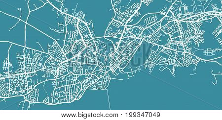 Detailed vector map of Galway, scale 1:30 000, Ireland