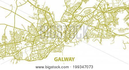 Detailed vector map of Galway in gold with title, scale 1:30 000, Ireland