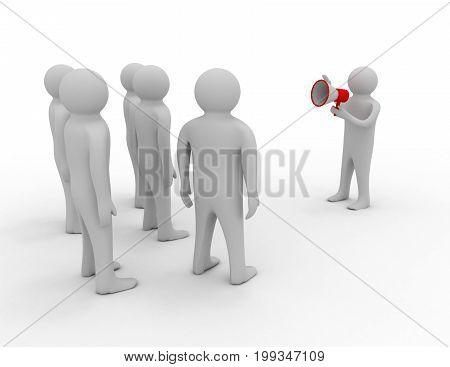 orator speaks in megaphone . 3d rendered illustration