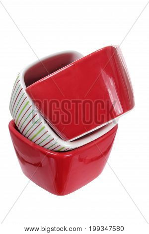 Stack of Bowls on Isolated White Background