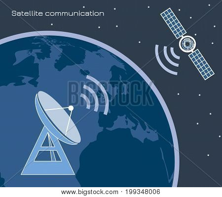 Image including satellite, satellite antenna icons. Used a clipping mask.