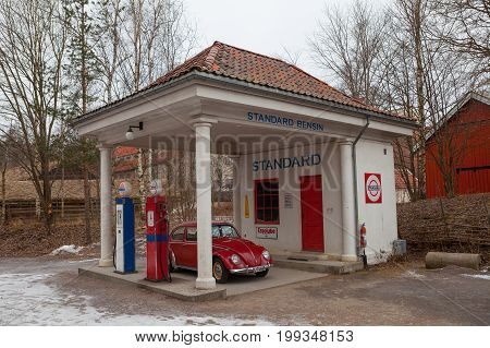 OSLO, NORWAY - 28 FEB 2016: Norwegian Museum of Cultural History. Standard Oil gas station of 1928 relocated from Holmestrand