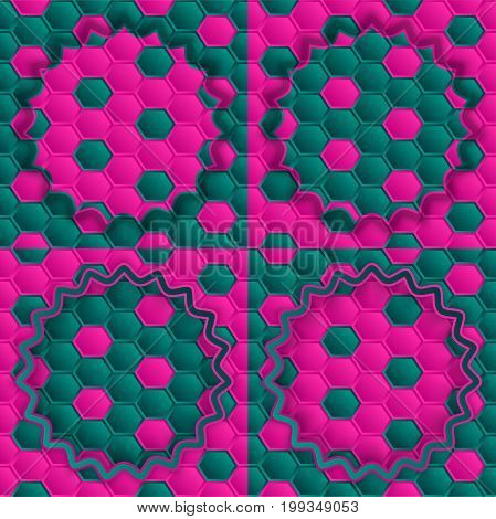 Pink green honeycomb green on a pink background