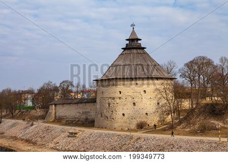 Big tower of Kremlin in Pskov, Russia