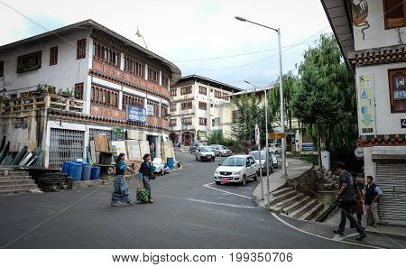 Buildings At Downtown In Thimphu, Bhutan