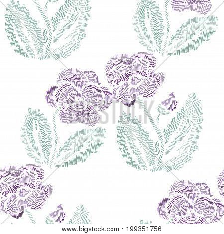 Elegant seamless pattern with hand drawn decorative pansy flowers design elements. Floral pattern for invitations cards wallpapers print gift wrap manufacturing fabrics. Embroidery style