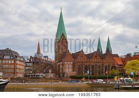 BREMEN, GERMANY - 16 APR 2016: St. Martin Church in old town along Weser river