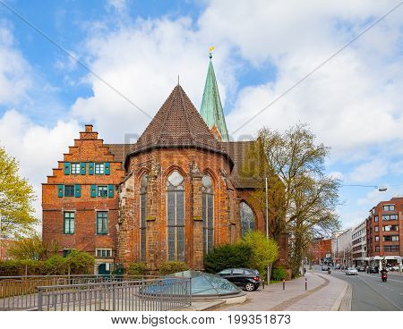 BREMEN, GERMANY - 16 APR 2016: St. Martin Church in old town. Sunny day with nice white clouds,