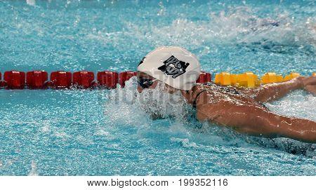 Hong Kong China - Oct 30 2016. Competitive swimmer Katinka HOSSZU (HUN) swimming in the Women's Individual Medley 100m Preliminary Heat. FINA Swimming World Cup Victoria Park Swimming Pool.