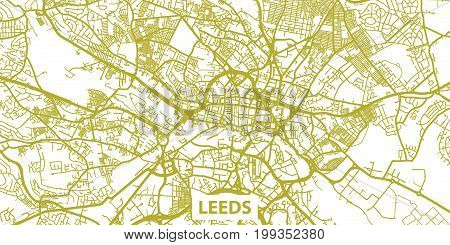 Detailed vector map of Leeds in gold with title, scale 1:30 000, England, UK
