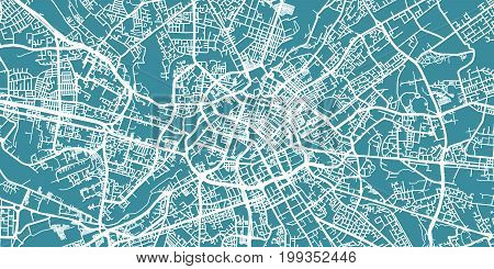 Detailed vector map of Manchester, scale 1:30 000, England, UK