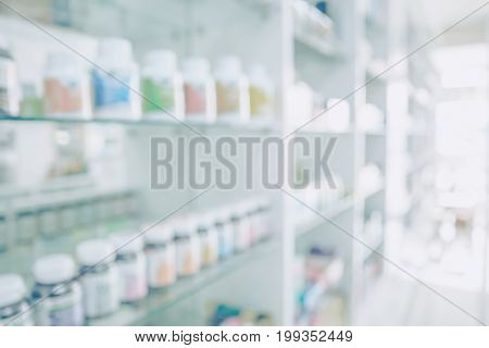 Pharmacy blurred light tone with store drugs shelves interior background Concept of pharmacist and chemist middle east or transcontinental region centered on western asia.