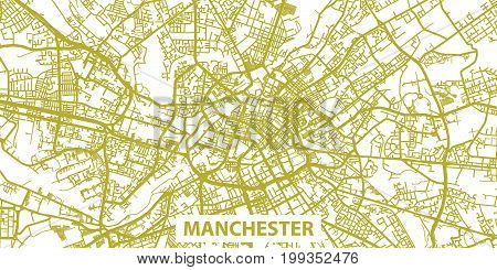 Detailed vector map of Manchester in gold with title, scale 1:30 000, England, UK