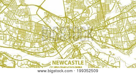 Detailed vector map of Newcastle upon Tyne in gold with title, scale 1:30 000, England, UK