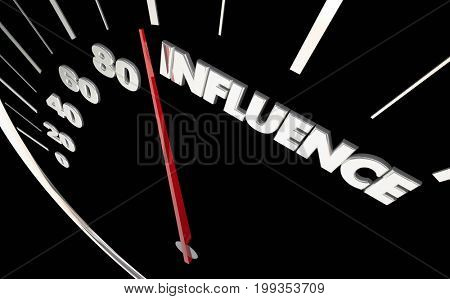 Influence Power Influential Speedometer Measure Results 3d Illustration