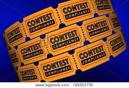 Contest Compliance Law Regulations Tickets 3d Illustration