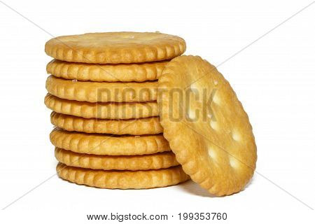 crackers isolated on white background, concept of food and breakfast