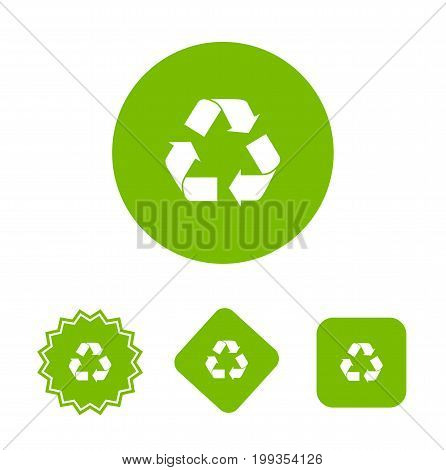 Recycle icon in different geometric forms, isolated on background. Vector stock.