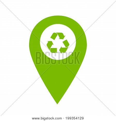 Recycle location icon. Recycle map pointer. Vector stock.