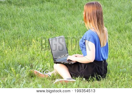 Training Concept. Girl And Laptop.