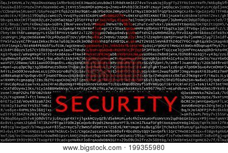 Security Text With Red Lock Over Encrypted Text