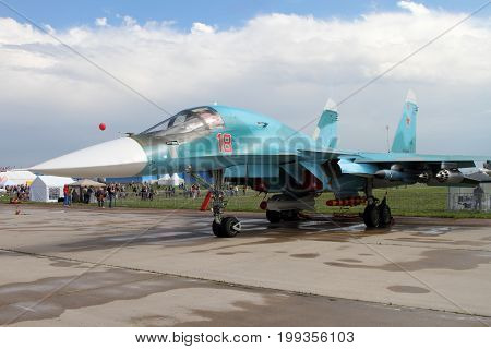 Moscow Region - July 21 2017: Multifunctional fighter-bomber Su-34 (on the codification of NATO: Fullback) at the International Aviation and Space Salon (MAKS) in Zhukovsky.