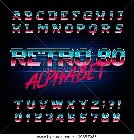 80's retro alphabet font. Metallic effect shiny oblique letters and numbers. Vector typography for your design.