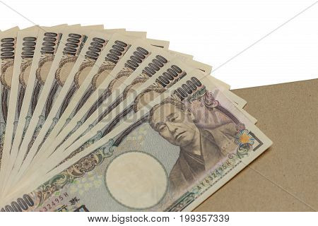 Billie yen money isolated on white background cutout top view concept of financial clipping paths