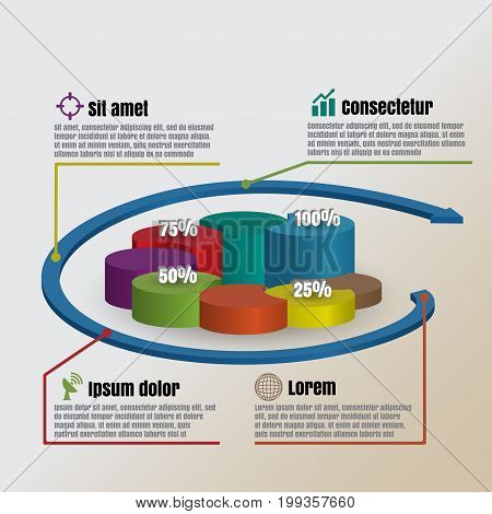 Design template: Circle Cylinder overlap style Vector illustration of business infographics