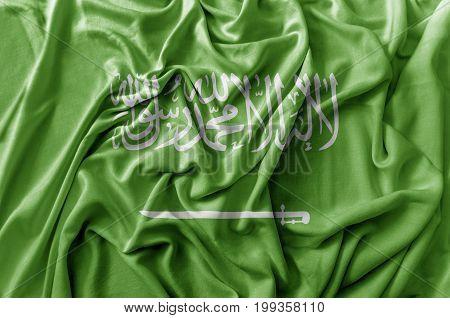 Ruffled waving Saudi Arabia flag national flag