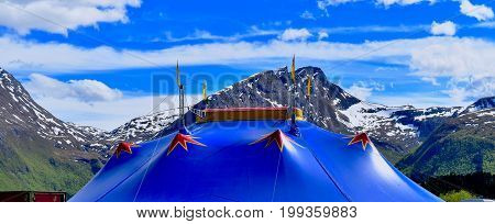 touring circus arnardo in the norwegian mountains with beautiful big top circus tent, chapiteau