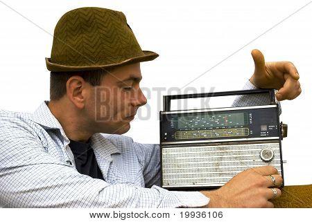 Man With Retro Radio