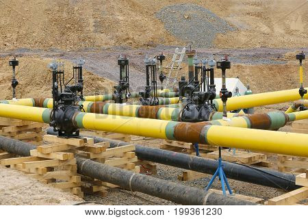 Construction work Gas pipeline Hessen Germany. Outdoor shot.
