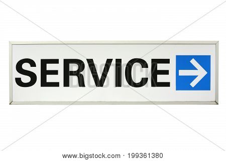 Service Sign with arrow isolated on white background