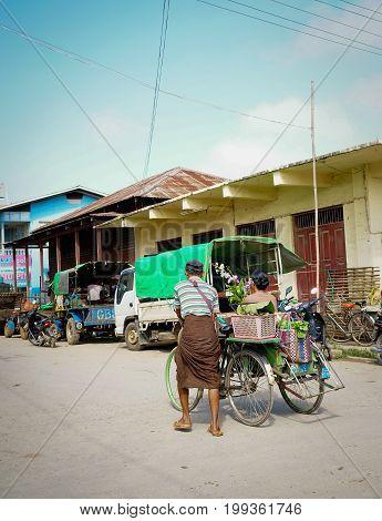 People On Street In Yangon, Myanmar