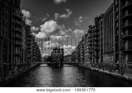 Warehouses in Hamburg in Black and White