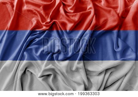 Ruffled waving Serbian Republic flag national flag