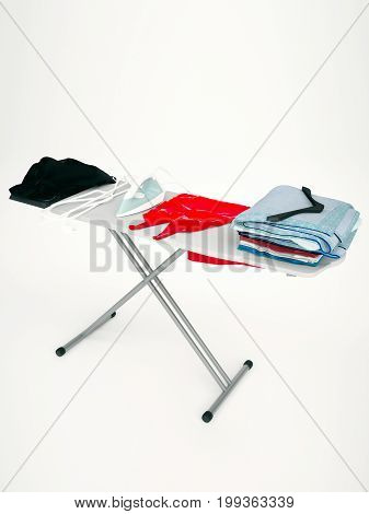 Iron red dress and stack of clothes on ironing board isolated on light background. Vertical. 3D illustration