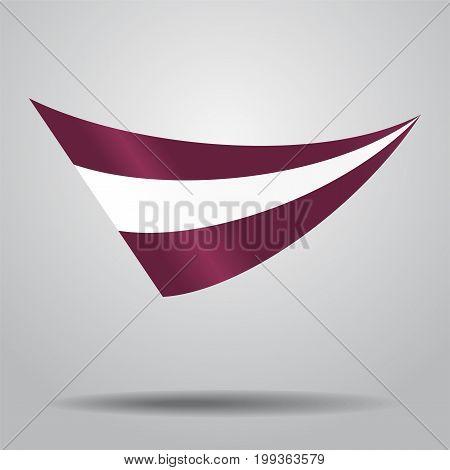 Latvian flag wavy abstract background. Vector illustration.