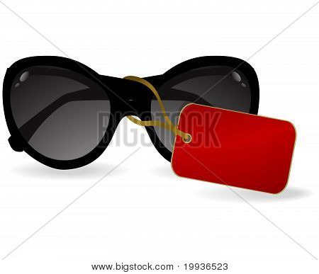 Sun glasses with a red label.