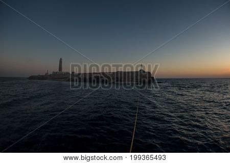 Big brother reef with lighthouse in egypt