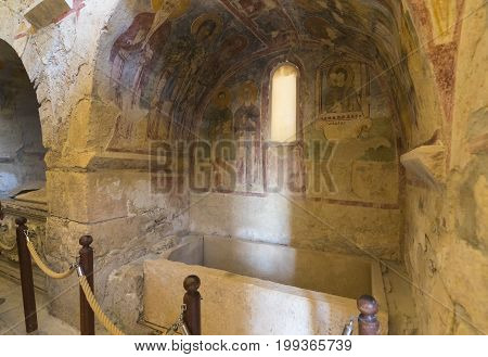 Elements of church architecture place of burial of St. Nicholas in Demre, Turkey