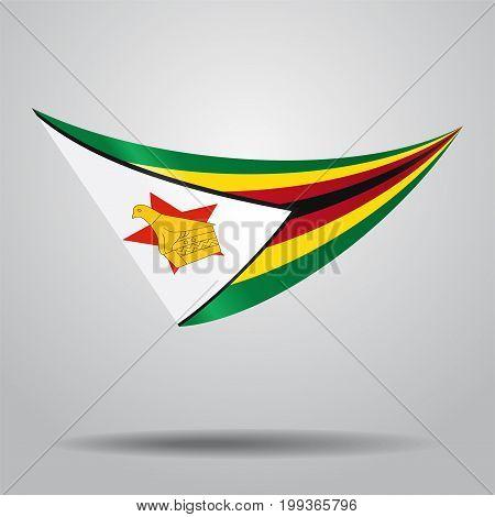 Zimbabwean flag wavy abstract background. Vector illustration.