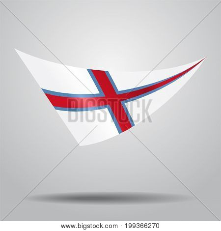 Faroe Islands flag wavy abstract background. Vector illustration.